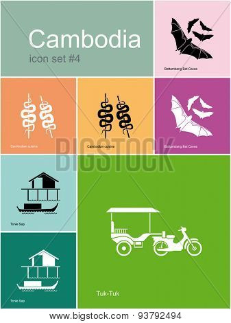 Landmarks of Cambodia. Set of color icons in Metro style. Raster illustration. poster