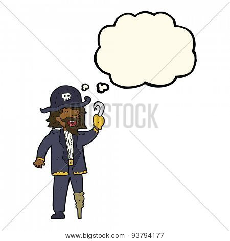 cartoon pirate captain with thought bubble