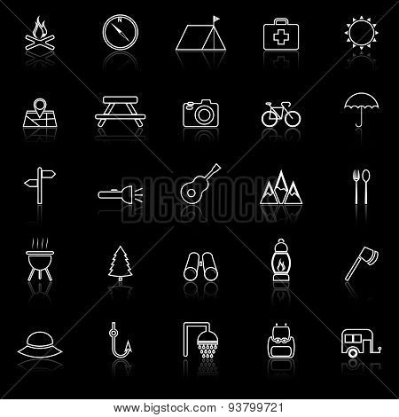 Camping Line Icons With Reflect On Black