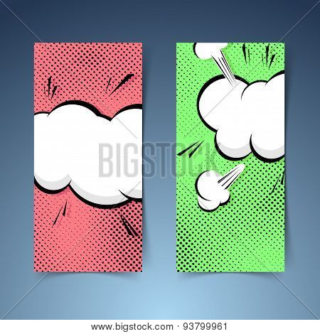 Pop-art Banner Collection With Explosion Cloud