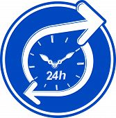 24 hours-a-day concept, clock face with a dial and an arrow around. Day-and-night interface icon, for use in web design. poster
