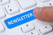 Subscribing newsletter on internet for business information marketing campaign poster