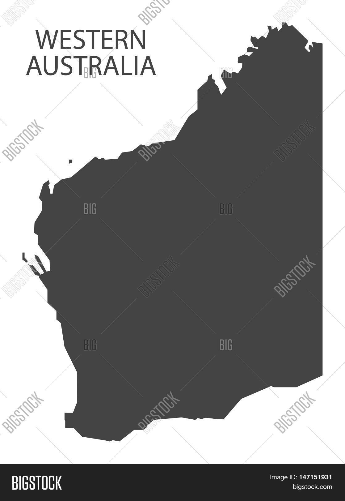 Australia Map Grey.Western Australia Map Vector Photo Free Trial Bigstock