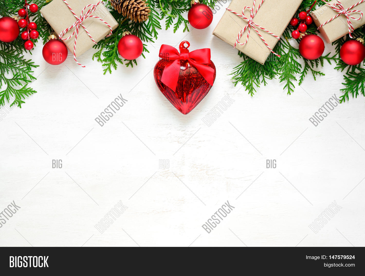 xmas or new year background holiday plain composition made of christmas decorations and fir twigs on