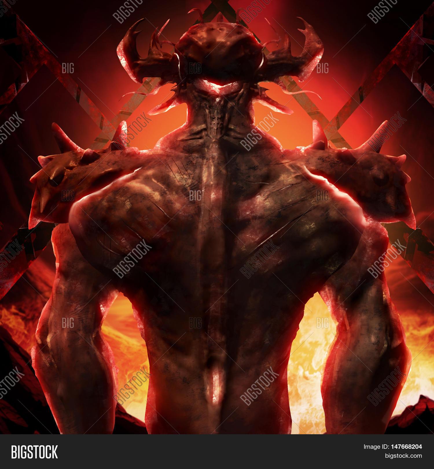 3d illustration devil image photo free trial bigstock 3d illustration of a devil back art artwork of a muscle built hell monster back voltagebd Images