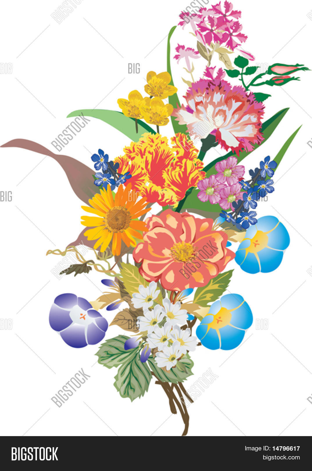 Illustration bunch vector photo free trial bigstock illustration with bunch of different flowers isolated on white background izmirmasajfo