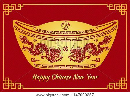 Happy Chinese new year card is Dragon in Gold money and Chinese word mean happiness
