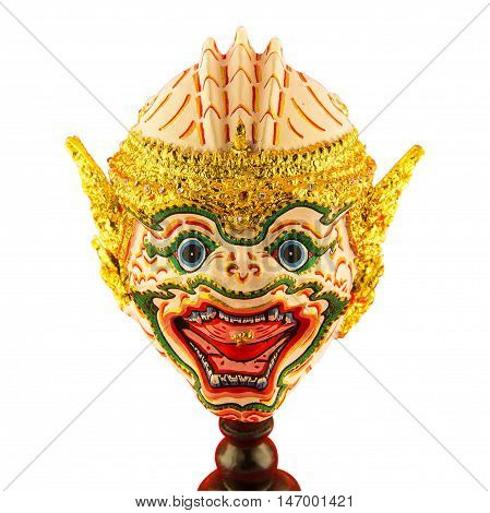 Khon Monkey mask in native Thai style use in royal performance on isolated background