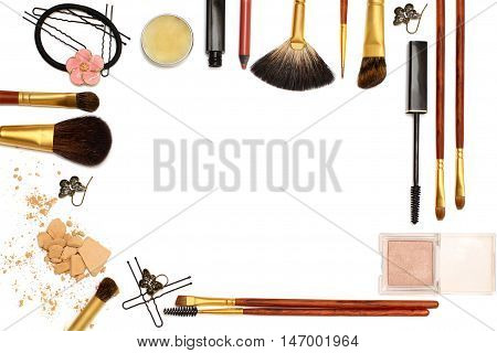 Background of women's Accessories: cosmetics jewelry hairpins