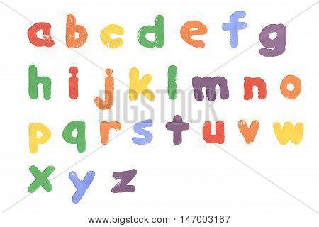 A sponge letter alphabet printed on white paper.