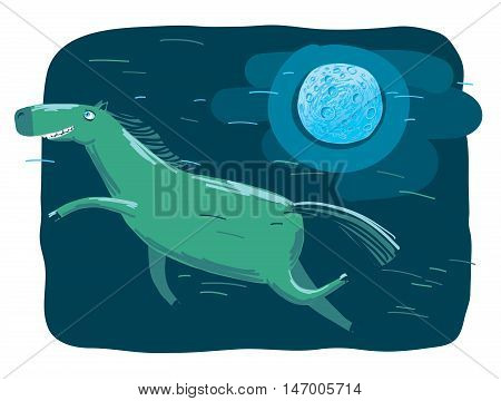 Flying Horse Floating Above the Earth in Moonlight