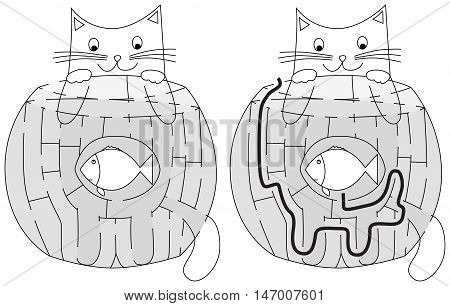 Easy hungry cat maze for younger kids with a solution in black and white