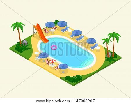 Realistic isometric outdoor waterpool. Vector illustration. 3D design for infographics and map creation. Summer vacation concept.