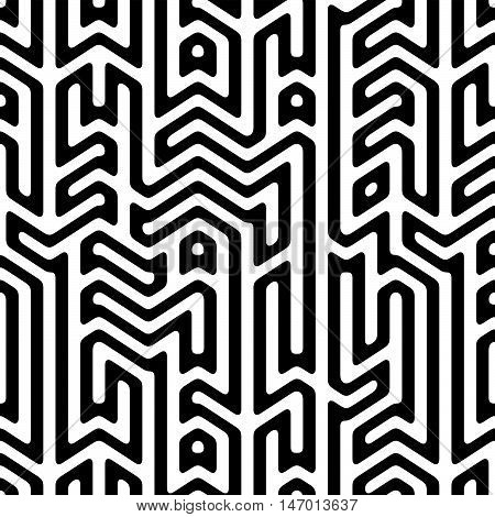 Black & White abstract background with complex infinity maze. Seamless pattern. Vector illustration