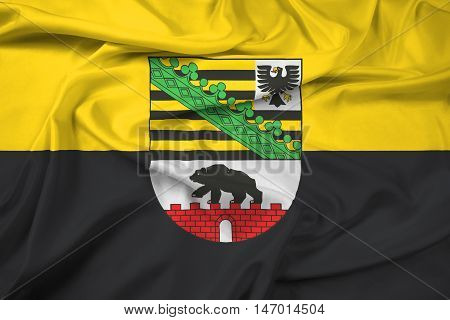 Waving Flag Of Saxony-anhalt With Coat Of Arms, Germany