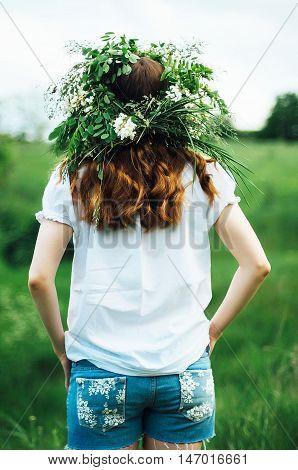 Young Pagan Slavic Girl Conduct Ceremony On Midsummer. Beauti Gi