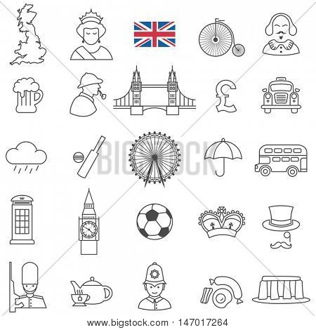 Great Britain travel  line icons and culture symbols. Vector set
