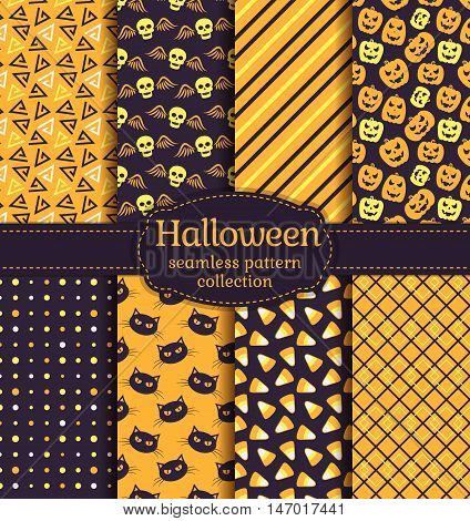 Happy Halloween! Set of seamless backgrounds with pumpkins skulls gloomy cats candy corn and abstract geometric patterns. Vector collection in black orange yellow and white colors.