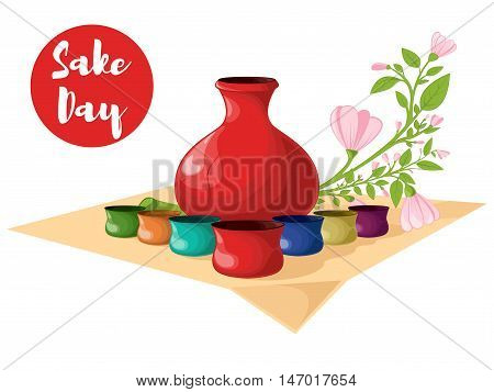 Bottle of sake small cups of sake. Flowering branch. Vector illustration. Sake Day