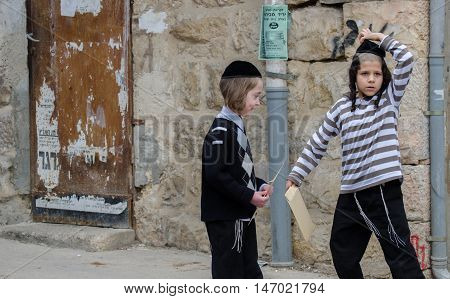 Orthodox Jewish Boys Play In Jewish .quarter. Jerusalem. Israel