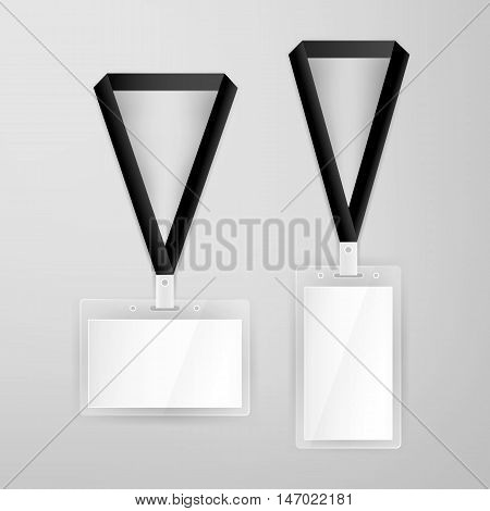 Name Tags Blank Mockup. Vector Illustration of Identity Card Badge Template.