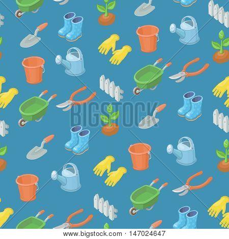 Seamless pattern from garden tools and decorative elements gardening cart, gloves, secateurs, seeds, truck, shovel. Vector