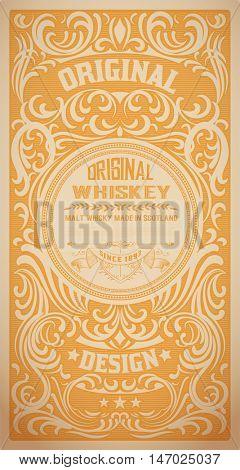 Vintage label for Whiskey and Wine label, Restaurant banner, Beer label. Vector illustration