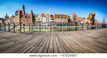 Panorama of Gdansk old town and Motlawa river in Poland. The city also known as Danzig and the city of amber. View from embankment