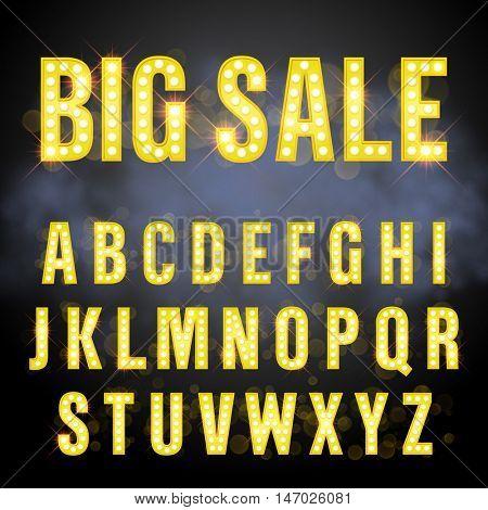 Light retro signboard lamp bulb letter set. Big Sale lettering of vegas casino style alphabet. Gold neon sparkling glitter letters