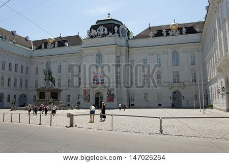 Vienna Austria - 04 July 2015 : The building of National Austrain Library (former Imperial Library) - largest library in Austria. This Library has 7.4 million items in various collection and its bulding is the part of Hofburg Imperial Palace
