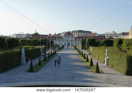 Vienna Austria - 04 July 2015 : Rare visitors walking in the park of Belvedere museum - former residence of Prince Eugene of Savoy