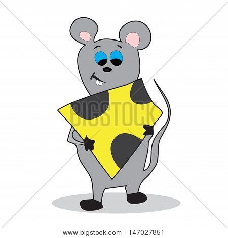 Cartoon mouse with cheese. Mouse animal isolated. Vector illustration