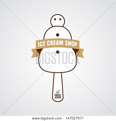 Original ice cream vector logo sign symbol icon emblem. Template design element with snowman as ice cream and retro ribbon