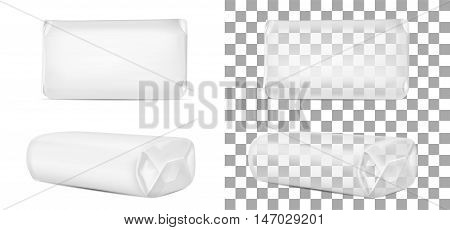 Transparent blank packaging isolated on white background. Sachet for soap coffee spices sweets cookies and flour