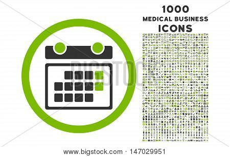 Month Calendar rounded vector bicolor icon with 1000 medical business icons. Set style is flat pictograms, eco green and gray colors, white background.