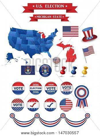 US Presidential Election 2016. Michigan State. Including High Detailed Michigan Map. Perfect for Election Campaign
