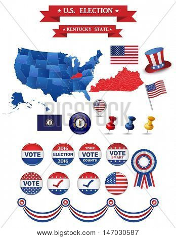US Presidential Election 2016. Kentucky State. Including High Detailed Map of Kentucky Perfect for Election Campaign