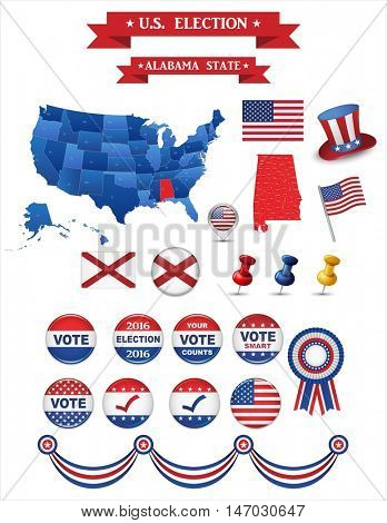 US Presidential Election 2016. Alabama State. Including High Detailed Map of Alabama Perfect for Election Campaign