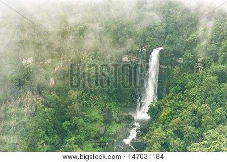 Tad Tiger A big waterfall in deep forest at Bolaven highland Ban Nung Lung Pakse Laos.