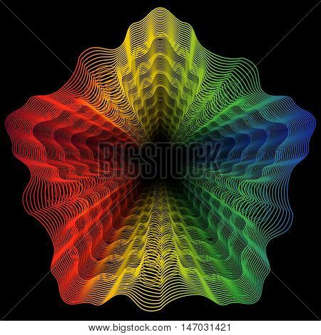 Abstract rainbow curved lines flower metamorphosis on dark background. Vector element for your creativity