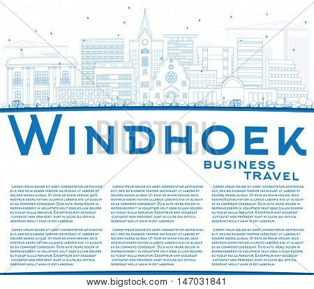 Outline Windhoek Skyline with Blue Buildings and Copy Space. Vector Illustration. Business Travel and Tourism Concept with Modern Buildings. Image for Presentation Banner Placard and Web Site.