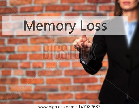 Memory Loss - Businesswoman Pressing High Tech  Modern Button On A Virtual Background