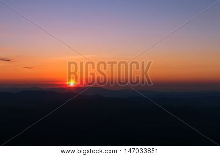 Mountain valley at sunset time. Sunset at mountain top. Twilight time at mountian top.