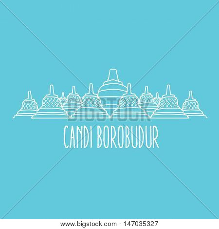 candi borobudur temple in Java island Indonesia vector line art thin outline