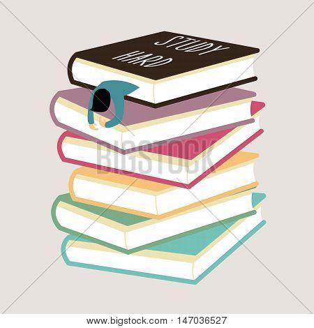 study hard man tired fall asleep between stack of book vector