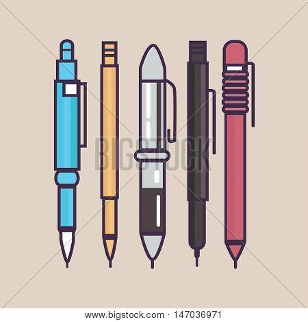 pen ballpoint pencil set outline thin illustration vector