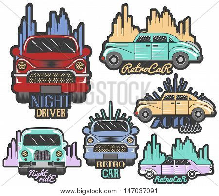 Vector colorful set of retro car club logos, banners, badges, labels or emblems and templates. Isolated illustration in vintage style.