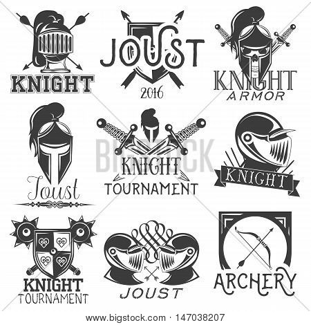 Vector set of heraldic knight labels in vintage style. Design elements, icons, logo, emblems and badges isolated on white background. Knight warrior helmet and sword