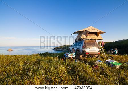 VITYAZ RUSSIA - AUGUST 08 2016: Mitsubishi Pajero Sport with rooftop tent. Camping life
