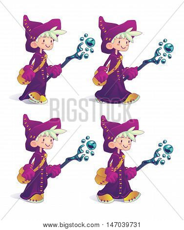 Happy cartoon mage character holding a stick in motion isolated on a white background. Hero for illustration, fantasy RPG game, part of your design or animation. Vector illustration.